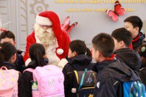 Santa visiting a school